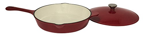 Useful UH-CI134 12 Inch Cast Iron Enamel Covered Skillet With Lid and Spout