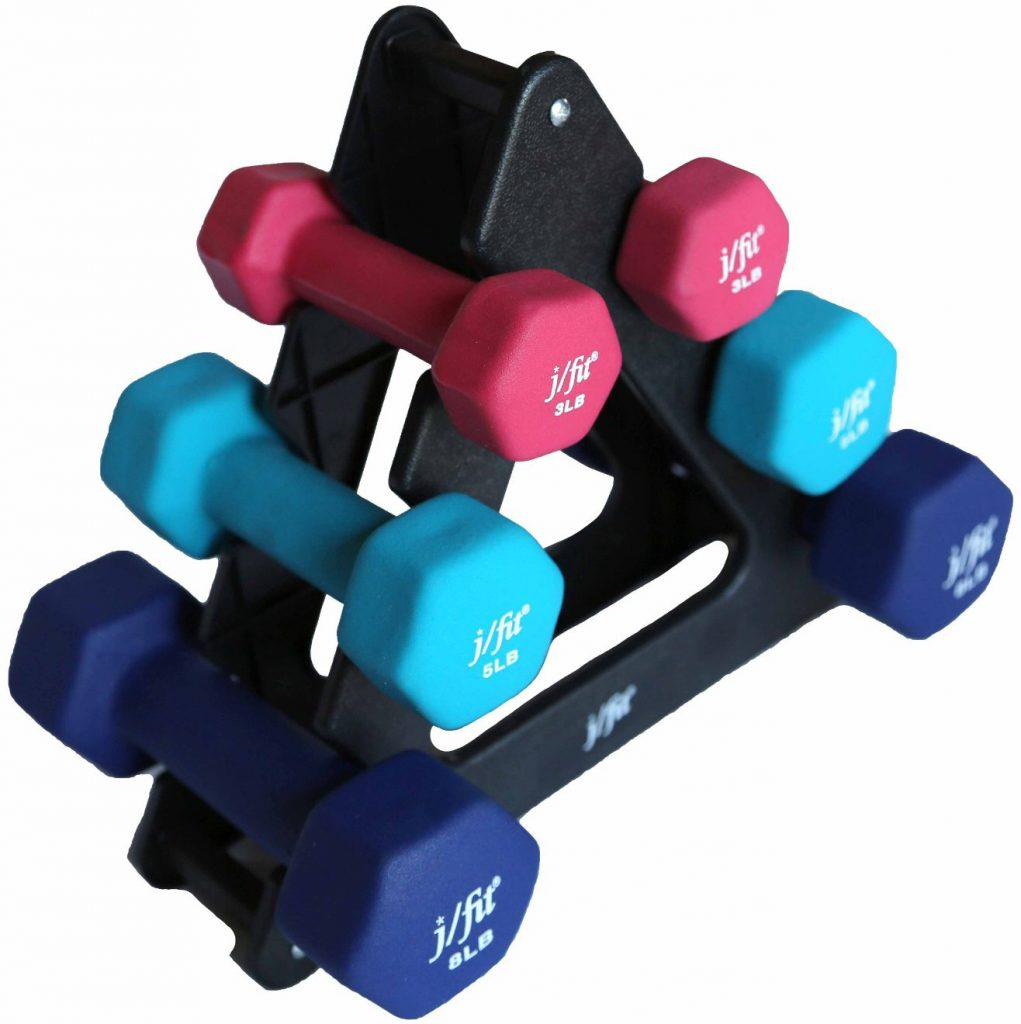 j/fit Dumbbell Set with Stand, 32-Pound, Black