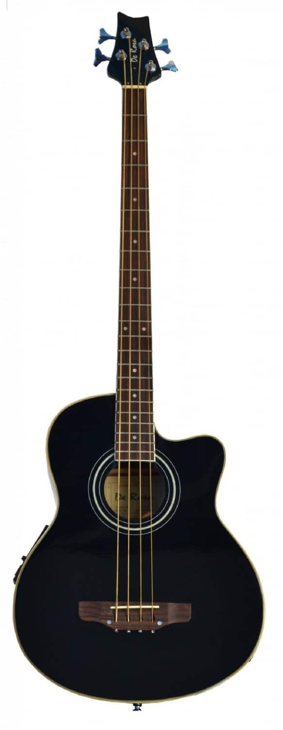 Cutaway Black Acoustic Electric Base 4 String Bass with 4 EQ & DirectlyCheap(TM) Translucent Blue Medium Guitar Pick