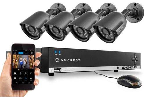 Amcrest 960H Video Security System Four 800+TVL Weatherproof Cameras, 65ft Night Vision, 984ft Transmit Range, 500GB HDD
