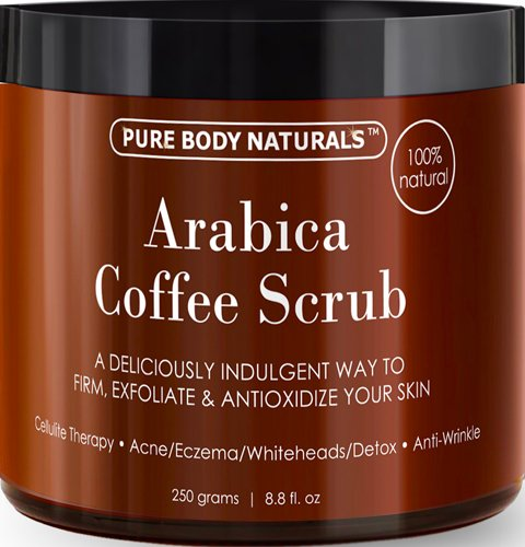 100% Natural Arabica Coffee Scrub 8.8 fl. oz. with Organic Coffee, Coconut and Shea Butter - Best Acne, Anti Cellulite and Stretch Mark treatment, Spider Vein Therapy for Varicose Veins & Eczema