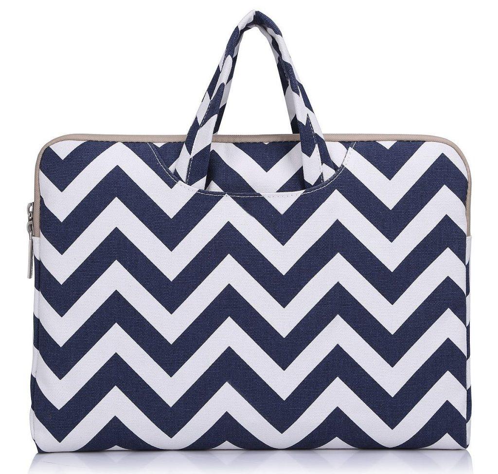 "Laptop Briefcase, Mosiso Chevron Blue Canvas Fabric 11-11.6"" Carry Case Handbag for Acer Chromebook 11, C720, C720P, C740 / HP Stream 11 / Samsung Chromebook 2 / Notebook Computer / MacBook Air 11"