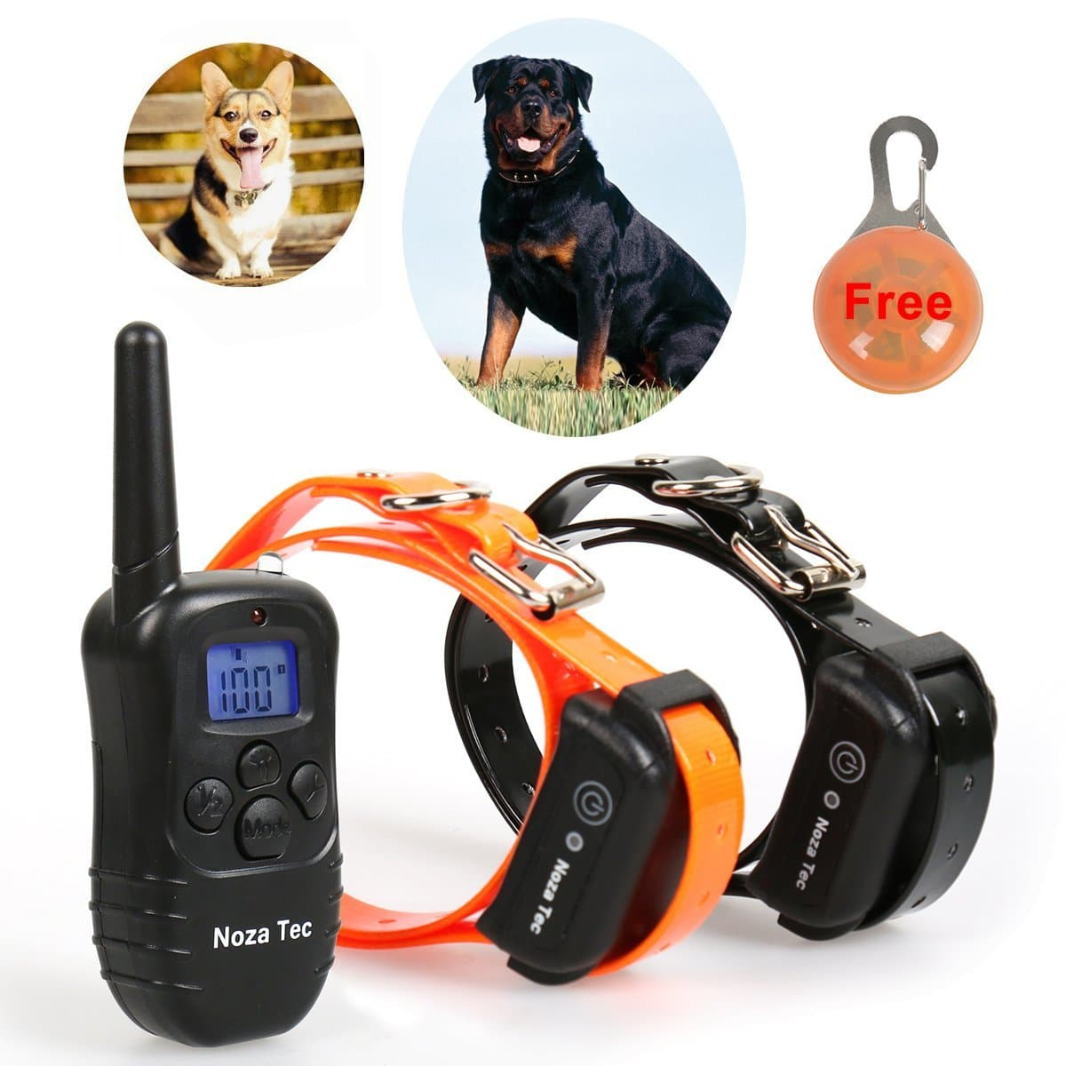 Noza Tec 330yd Remote Dog Training collar Waterproof shock E-collar for 2 Dogs with Beep, Vibration and Shock Electronic Electric Collar