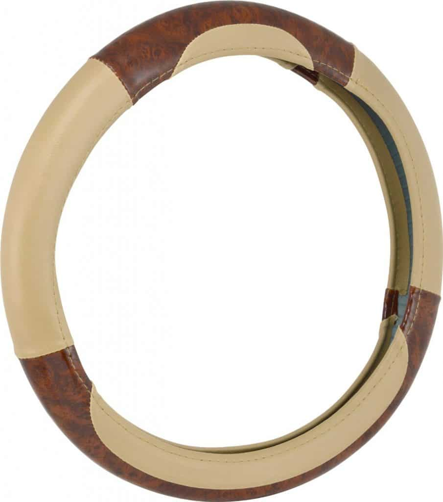 Bell Automotive 22-1-97006-9 Tan Deluxe Burl Wood Hyper-Flex Core Steering Wheel Cover