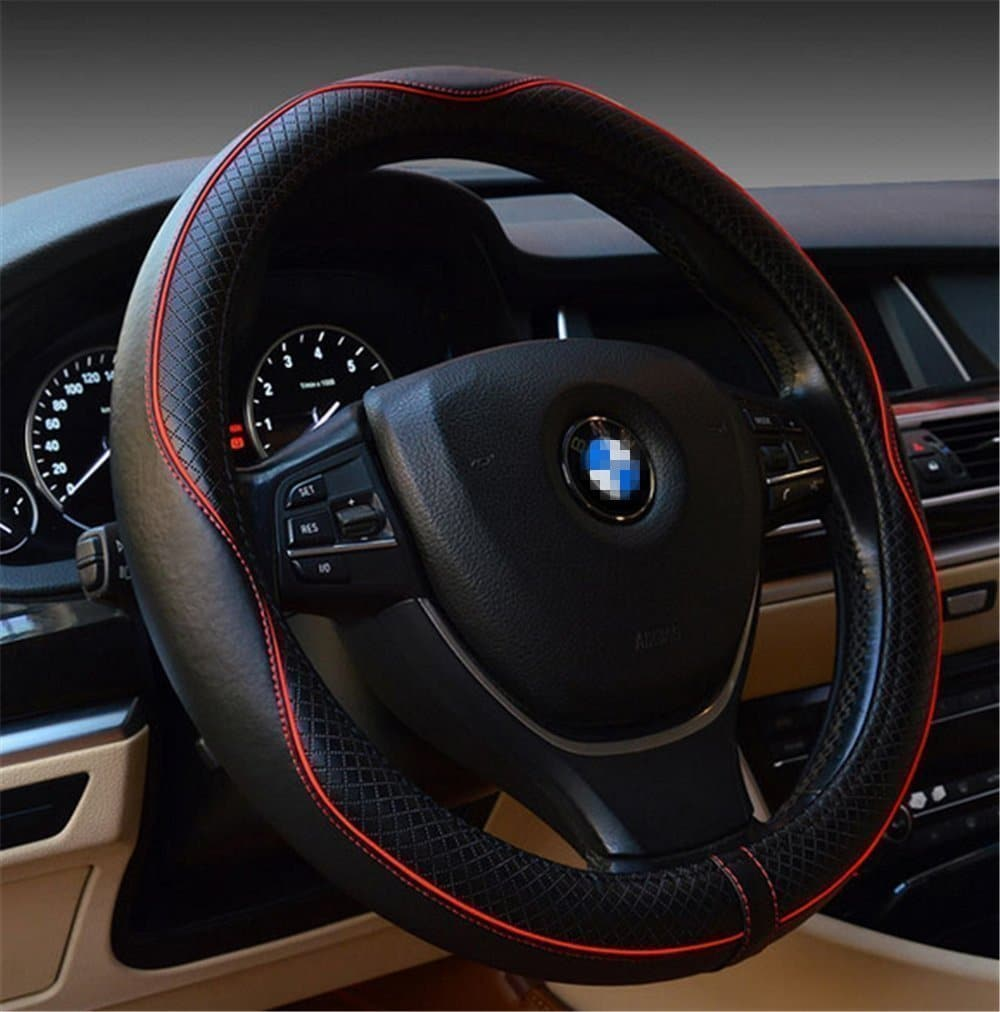 Gomass Automotive Interior Accessories 38cm Emboss Top Leather Steering Wheel Cover