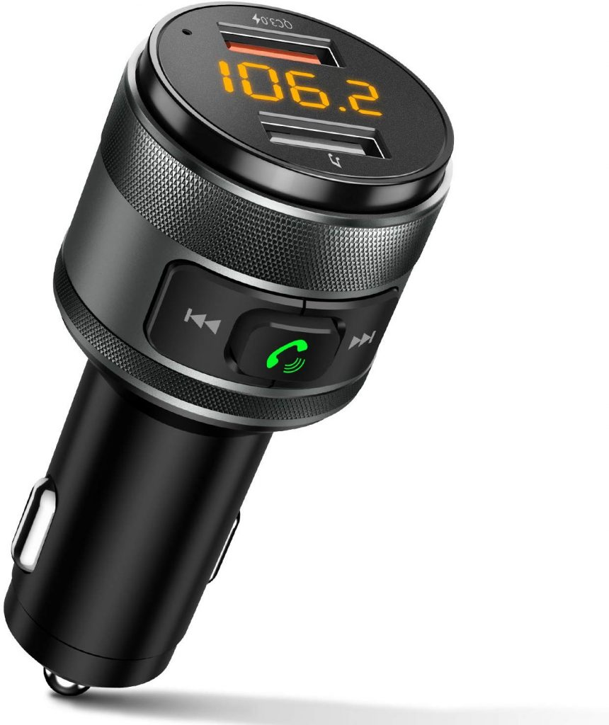IMDEN Bluetooth FM Transmitter for Car, 3.0 Wireless Bluetooth FM Radio Adapter Music Player FM Transmitter/Car Kit with Hands-Free Calling and 2 USB Ports Charger Support USB Drive