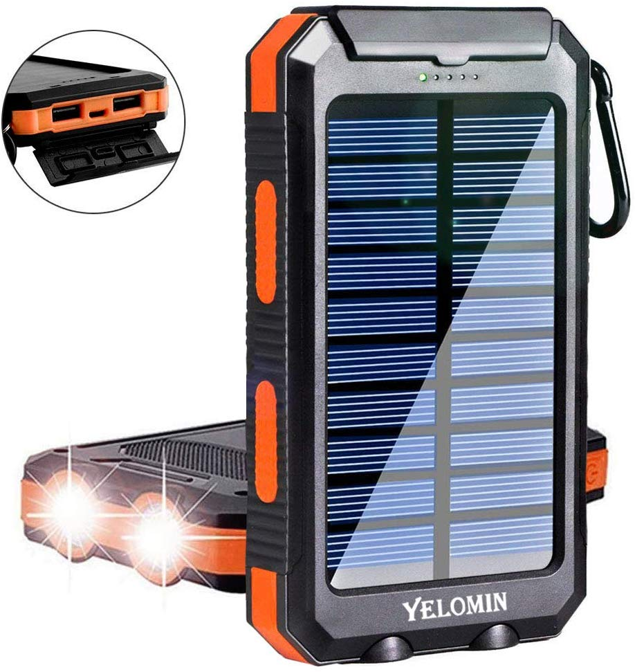 Solar Charger,Yelomin 20000mAh Portable Outdoor Waterproof Mobile Power Bank