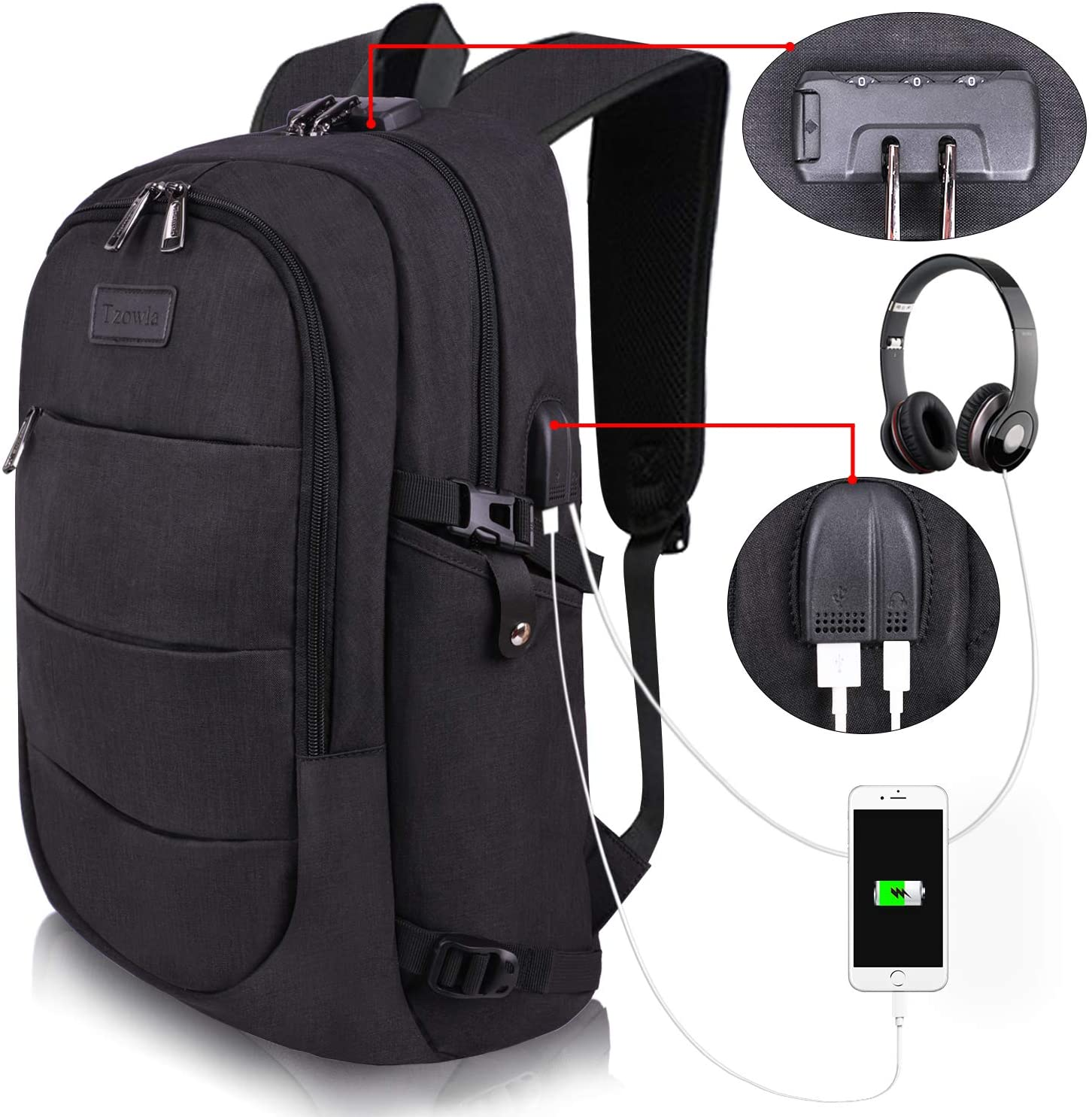 Travel Laptop Backpack Water Resistant Anti-Theft Bag with USB Charging Port and Lock