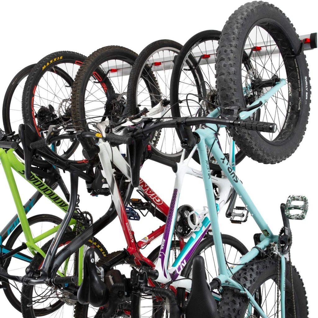 Bike Wall Rack - 3 or 6 Bikes Versions - Adjustable Indoor Bicycle Storage Mount for Garage or Home - Vertical Cycling Hanger - Secure Hook - Holder for Road or Mountain Bicycles