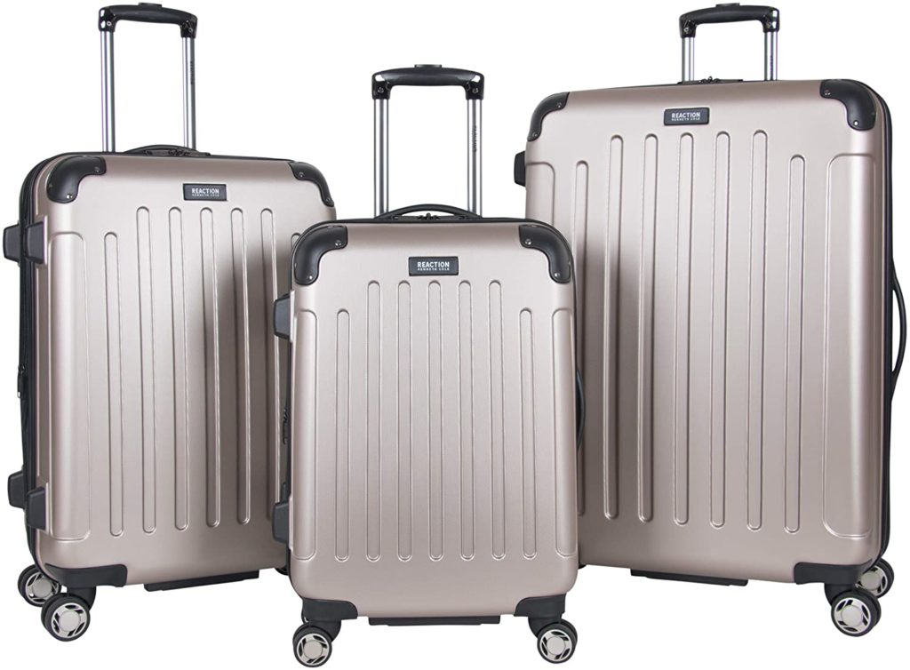 "Kenneth Cole Reaction Renegade 3-Piece Lightweight Hardside Expandable 8-Wheel Spinner Travel Luggage Set: 20"" Carry-on, 24"", 28"" Suitcases, Champagne"