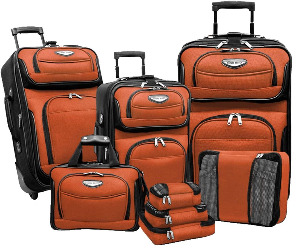 Travel Select Amsterdam Expandable Rolling Upright Luggage Set 8-Piece, Orange
