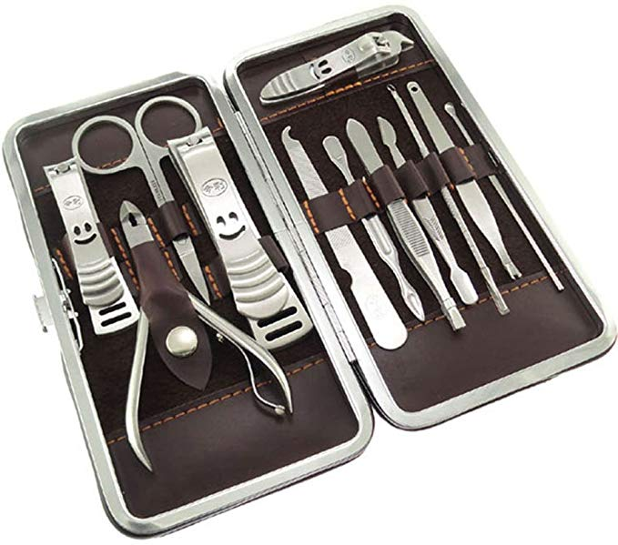 JINLI Nail Care Personal Manicure & Pedicure Set, Travel & Grooming Kit, 12 Piece