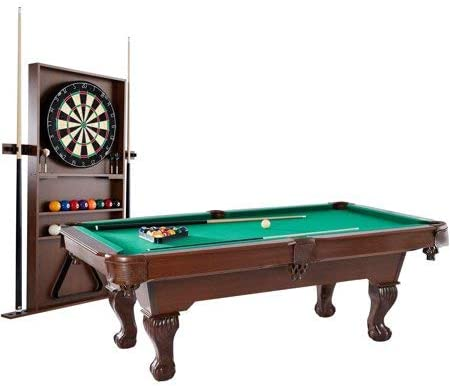 """Barrington 90"""" Ball and Claw Leg Pool Table with Cue Rack and Dartboard Set"""