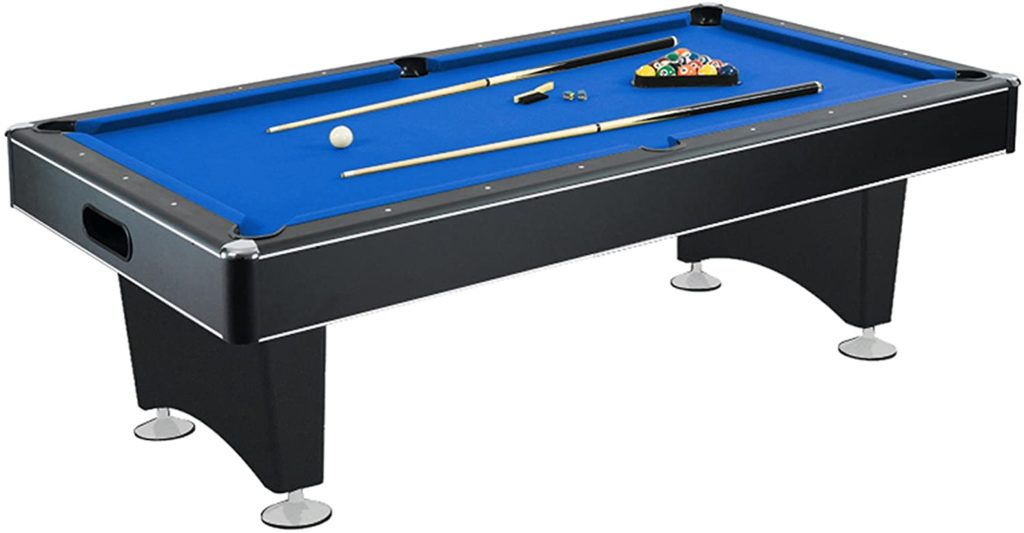 Pool Table with Blue Felt, Internal Ball Return System, Easy Assembly, Pool Cues and Chalk