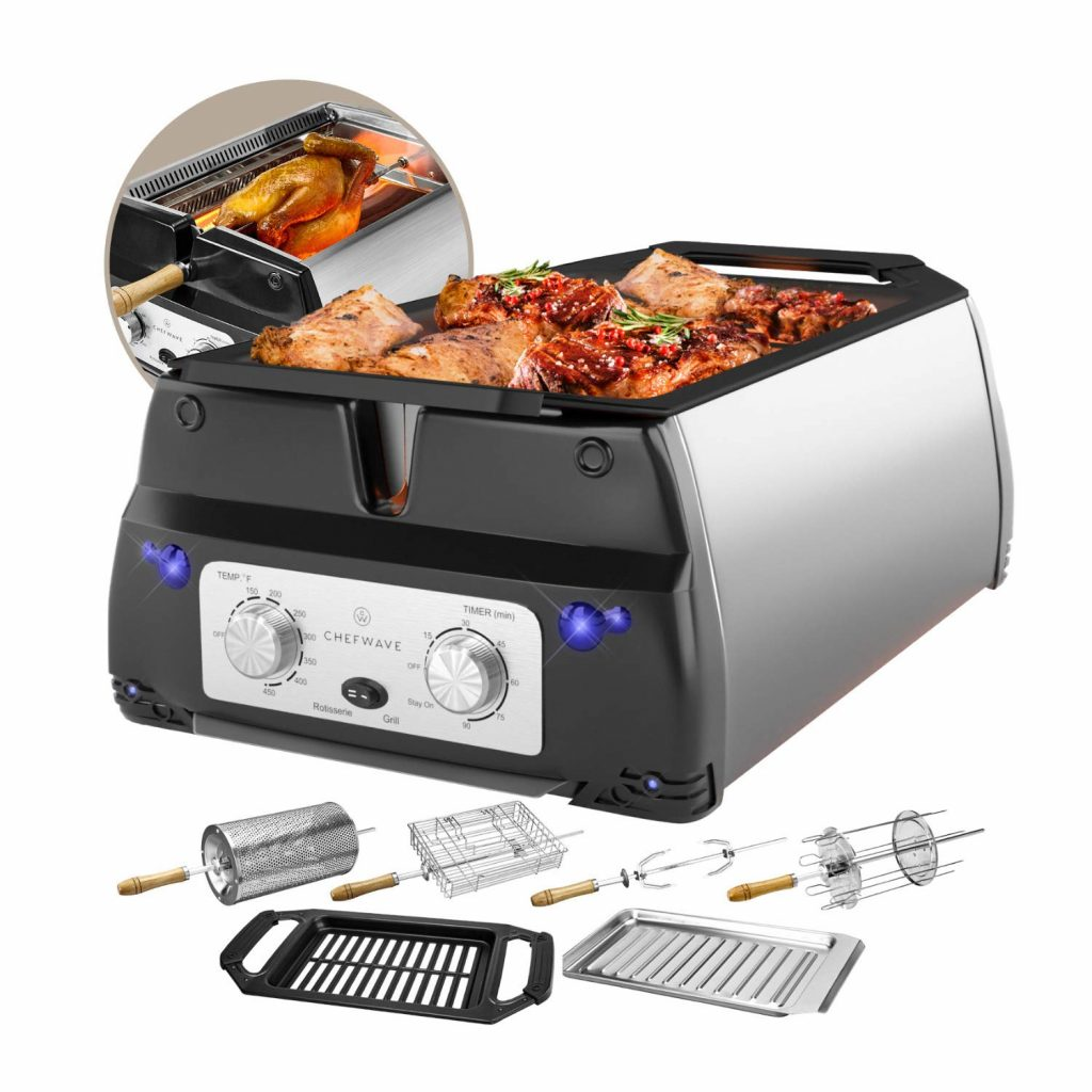 ChefWave Smokeless Indoor Electric Grill & Rotisserie – 5 in 1 Non-Stick Tabletop Kitchen BBQ Grill with Infrared Technology