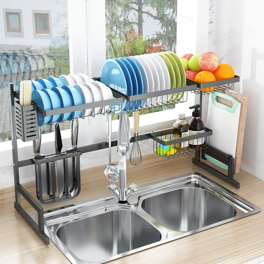 Dish Drying Rack, 2 Cutlery Holders Drainer Shelf for Kitchen Supplies Storage Counter Organizer Stainless Steel Display- Kitchen Space Save Must Have