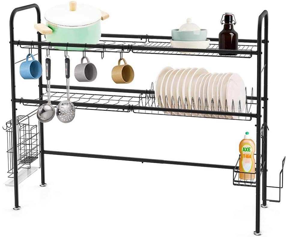 HEOMU Dish Drying Rack Over The Sink, 2-Tier Dish Drainer for Home Kitchen Counter Storage, Large Stainless Steel Dish Dryer, Black