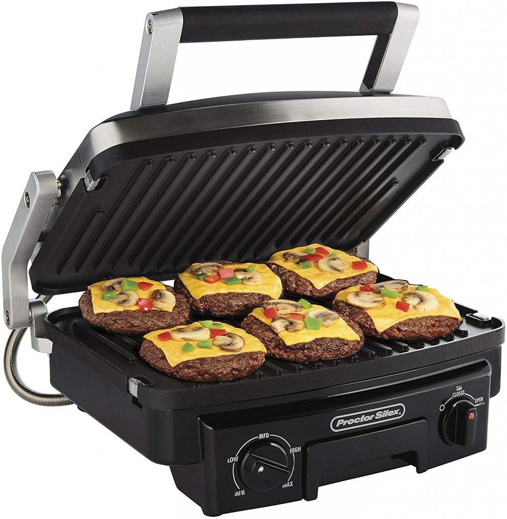 Proctor Silex 5-in-1 Electric Indoor Grill, Griddle & Panini Press, Opens Flat to Double Cooking Space, Reversible Nonstick Plates, Stainless Steel