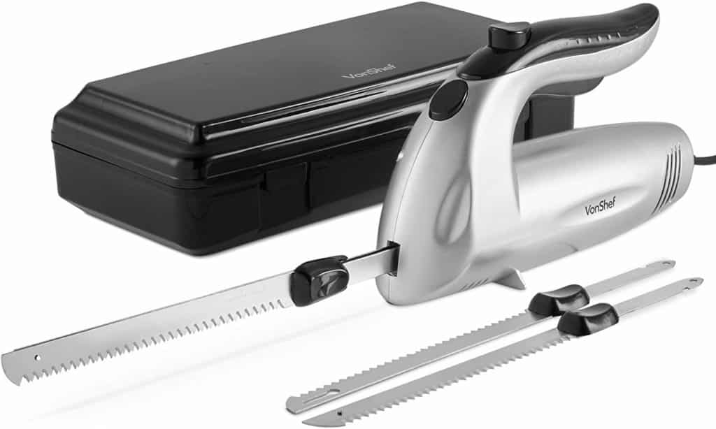 VonShef Electric Knife 10 Inch – Serrated Carving Knife Set with Storage Case – Interchangeable Stainless Steel Blades – For Turkey, Meat, Bread, Vegetables, Fruit - 150W