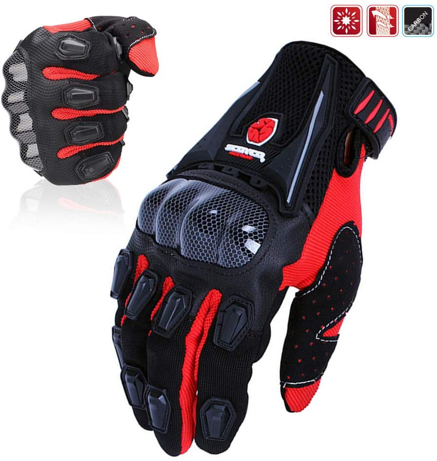 SCOYCO Men's Gloves Black,with Microfiber Hard Knuckle,Waterproof,Breathable, Powersports,Motorbike,Scooter,Motorcycle Glove