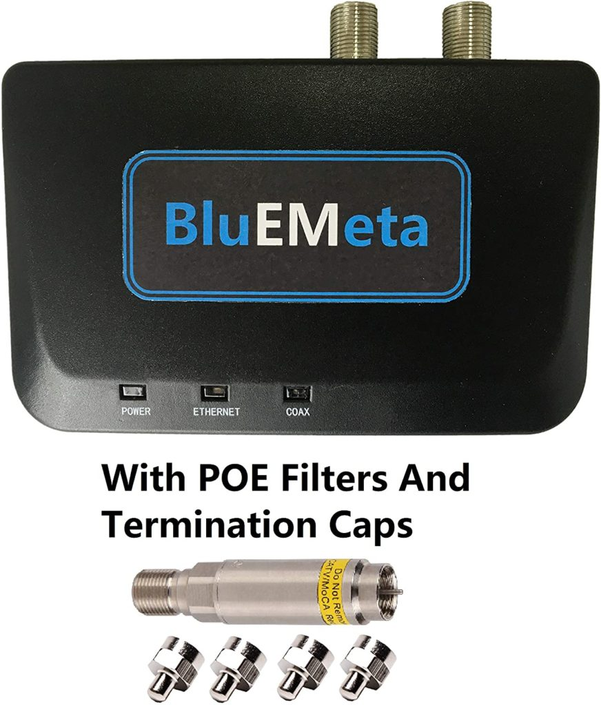 BluEMeta MoCA Adapters with POE Filters, Bonded MoCA 2.0 Coax to Ethernet Adapter Single Pack