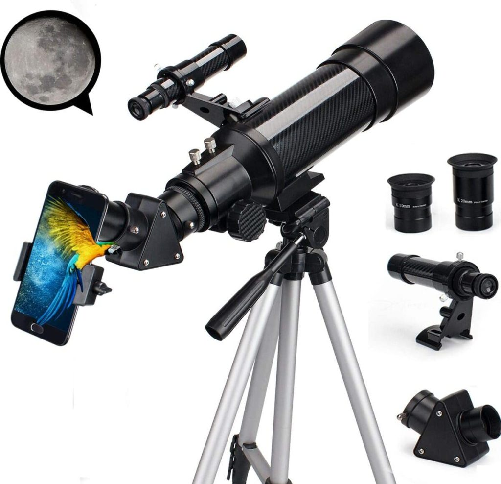 EastPole 70mm Telescope for Beginners and Kids, Refracter Travel Scope for Viewing Moon Stargazing Outdoor Activities, FMC Lens, BAK4 Prism, Tripod and 2019 New Smartphone Mount