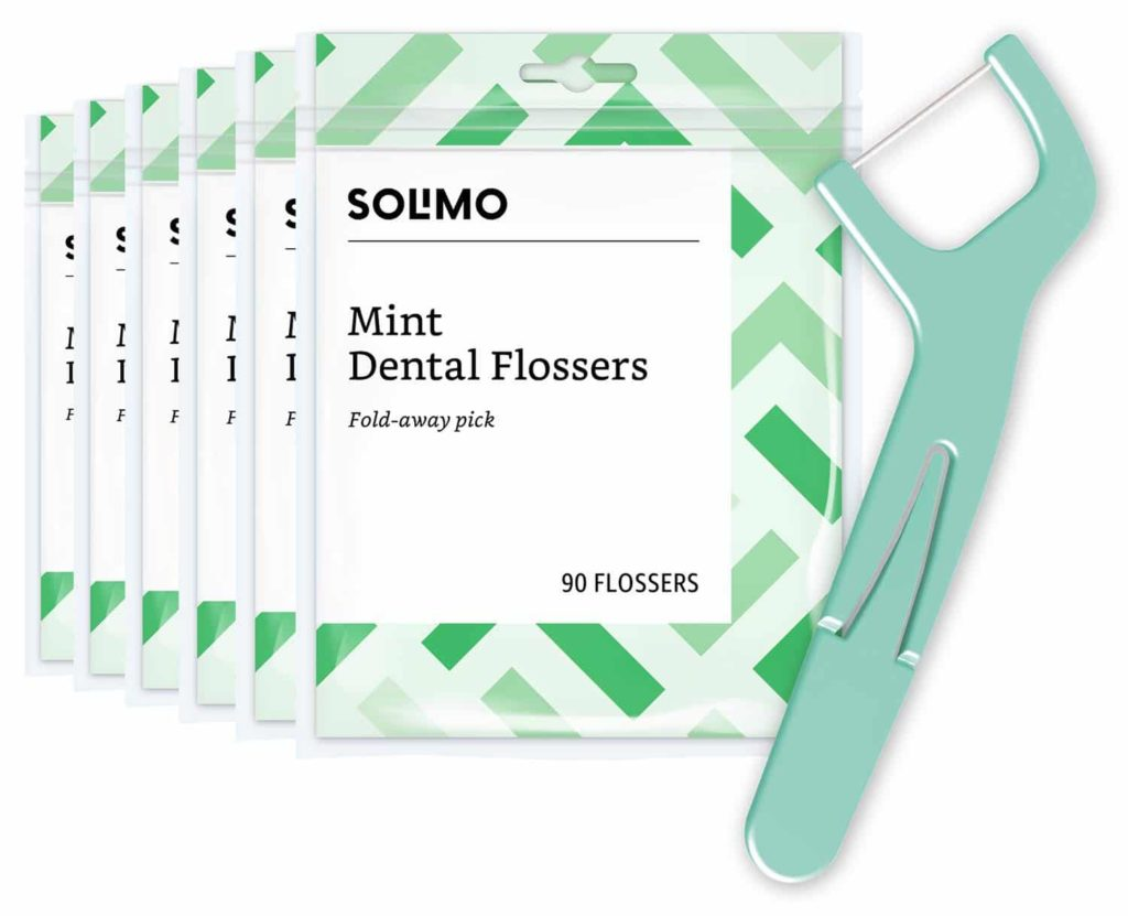 Amazon Brand - Solimo Mint Dental Flossers, 540 Count