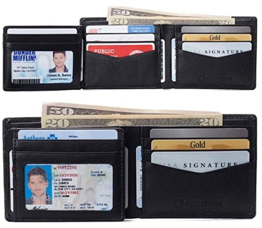 Alpine Swiss RFID Protected Mens Spencer Leather Wallet Bifold