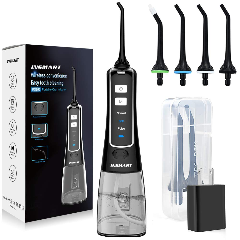 Cordless Water Flosser Teeth Cleaner, INSMART Professional 300ML Tank with Tips Case USB Rechargable Dental Oral Irrigator for Home and Travel, IPX7 Waterproof 3 Modes Water Flosser for Oral Care